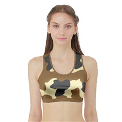 Initial Camouflage Camo Netting Brown Black Sports Bra With Border by Mariart