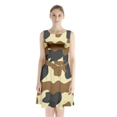 Initial Camouflage Camo Netting Brown Black Sleeveless Chiffon Waist Tie Dress by Mariart