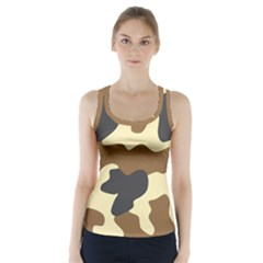Initial Camouflage Camo Netting Brown Black Racer Back Sports Top
