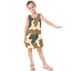 Initial Camouflage Camo Netting Brown Black Kids  Sleeveless Dress by Mariart