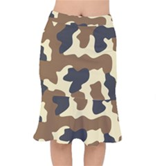 Initial Camouflage Camo Netting Brown Black Mermaid Skirt by Mariart
