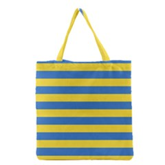 Horizontal Blue Yellow Line Grocery Tote Bag by Mariart