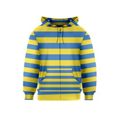 Horizontal Blue Yellow Line Kids  Zipper Hoodie by Mariart