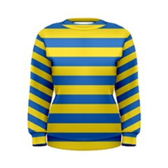 Horizontal Blue Yellow Line Women s Sweatshirt by Mariart