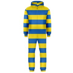 Horizontal Blue Yellow Line Hooded Jumpsuit (men)  by Mariart