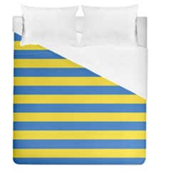 Horizontal Blue Yellow Line Duvet Cover (queen Size) by Mariart