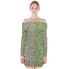 Camo Pack Initial Camouflage Long Sleeve Off Shoulder Dress by Mariart