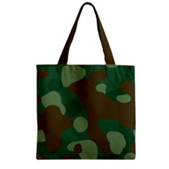 Initial Camouflage Como Green Brown Zipper Grocery Tote Bag by Mariart