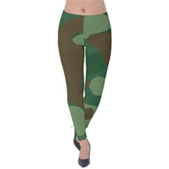 Initial Camouflage Como Green Brown Velvet Leggings by Mariart