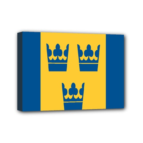 King Queen Crown Blue Yellow Mini Canvas 7  X 5  by Mariart