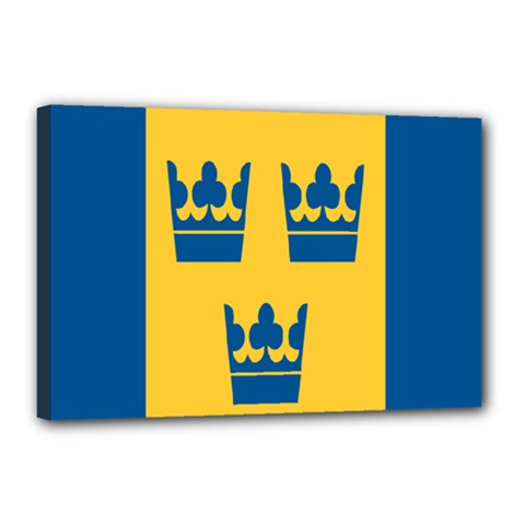 King Queen Crown Blue Yellow Canvas 18  X 12  by Mariart