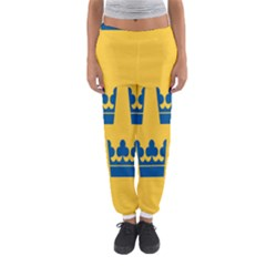 King Queen Crown Blue Yellow Women s Jogger Sweatpants by Mariart