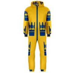King Queen Crown Blue Yellow Hooded Jumpsuit (men)  by Mariart