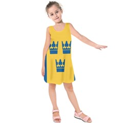 King Queen Crown Blue Yellow Kids  Sleeveless Dress by Mariart