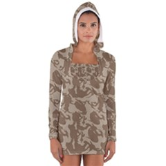 Initial Camouflage Brown Women s Long Sleeve Hooded T Shirt by Mariart