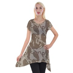 Initial Camouflage Brown Short Sleeve Side Drop Tunic by Mariart