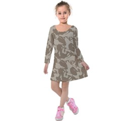Initial Camouflage Brown Kids  Long Sleeve Velvet Dress by Mariart