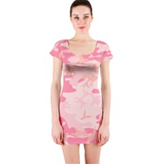 Initial Camouflage Camo Pink Short Sleeve Bodycon Dress by Mariart