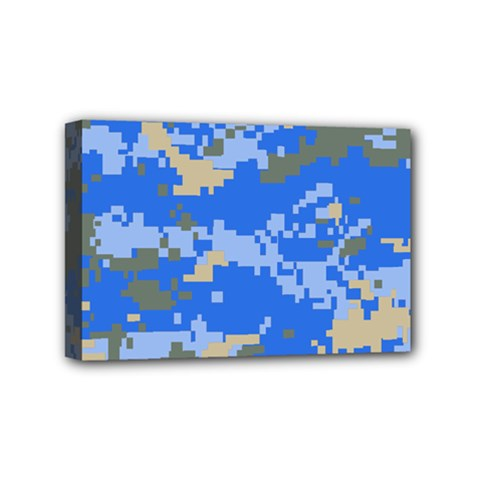 Oceanic Camouflage Blue Grey Map Mini Canvas 6  X 4  by Mariart