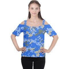 Oceanic Camouflage Blue Grey Map Women s Cutout Shoulder Tee by Mariart
