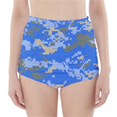 Oceanic Camouflage Blue Grey Map High Waisted Bikini Bottoms by Mariart