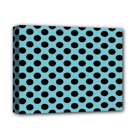 Polka Dot Blue Black Deluxe Canvas 14  X 11  by Mariart