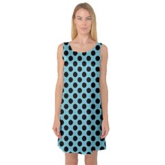 Polka Dot Blue Black Sleeveless Satin Nightdress by Mariart
