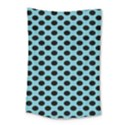 Polka Dot Blue Black Small Tapestry View1