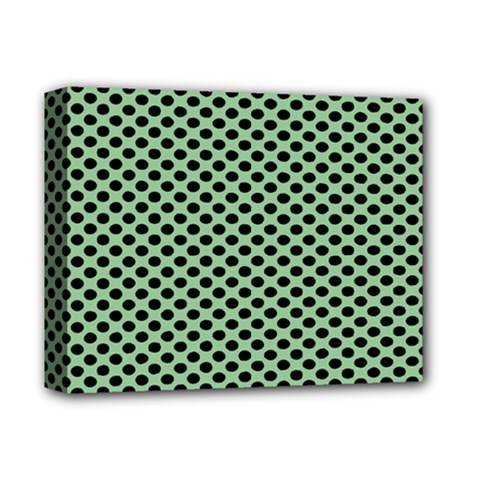 Polka Dot Green Black Deluxe Canvas 14  X 11  by Mariart