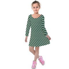 Polka Dot Green Black Kids  Long Sleeve Velvet Dress by Mariart