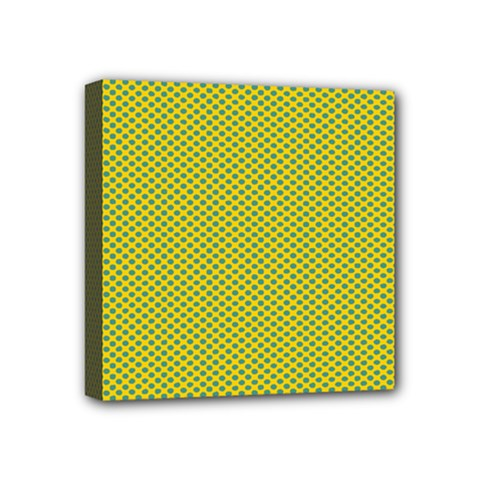 Polka Dot Green Yellow Mini Canvas 4  X 4  by Mariart