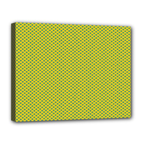 Polka Dot Green Yellow Canvas 14  X 11  by Mariart