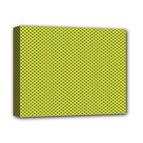 Polka Dot Green Yellow Deluxe Canvas 14  X 11  by Mariart
