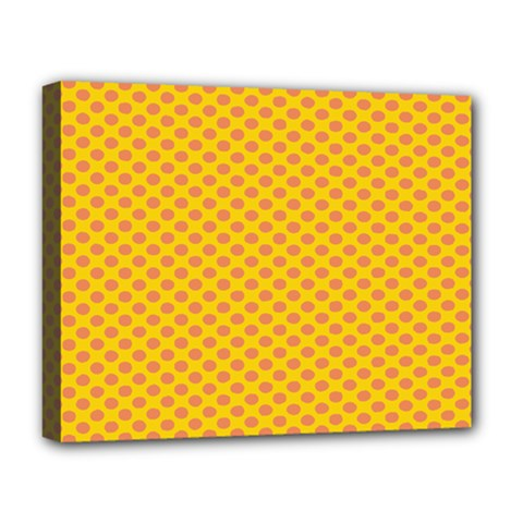 Polka Dot Orange Yellow Deluxe Canvas 20  X 16   by Mariart