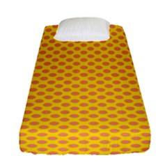 Polka Dot Orange Yellow Fitted Sheet (single Size) by Mariart