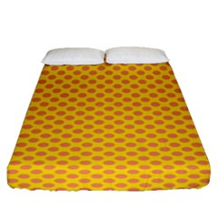 Polka Dot Orange Yellow Fitted Sheet (queen Size) by Mariart