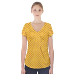 Polka Dot Orange Yellow Short Sleeve Front Detail Top by Mariart