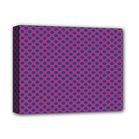Polka Dot Purple Blue Deluxe Canvas 14  X 11  by Mariart