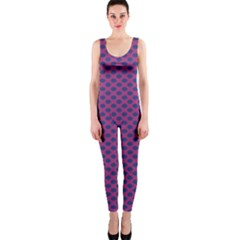 Polka Dot Purple Blue Onepiece Catsuit by Mariart