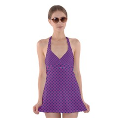 Polka Dot Purple Blue Halter Swimsuit Dress by Mariart