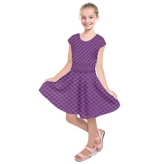 Polka Dot Purple Blue Kids  Short Sleeve Dress by Mariart