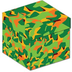 Initial Camouflage Green Orange Yellow Storage Stool 12   by Mariart