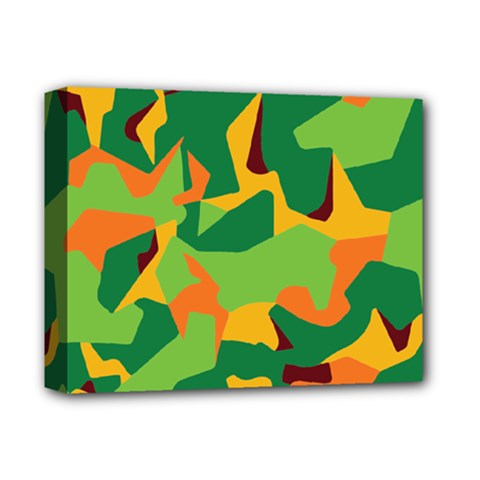 Initial Camouflage Green Orange Yellow Deluxe Canvas 14  X 11  by Mariart