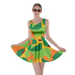 Initial Camouflage Green Orange Yellow Skater Dress by Mariart