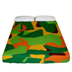 Initial Camouflage Green Orange Yellow Fitted Sheet (king Size) by Mariart