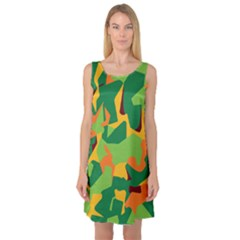 Initial Camouflage Green Orange Yellow Sleeveless Satin Nightdress by Mariart