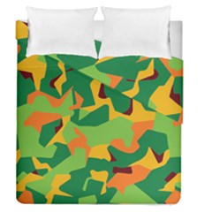 Initial Camouflage Green Orange Yellow Duvet Cover Double Side (queen Size) by Mariart