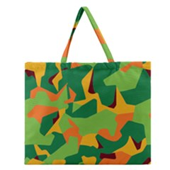 Initial Camouflage Green Orange Yellow Zipper Large Tote Bag
