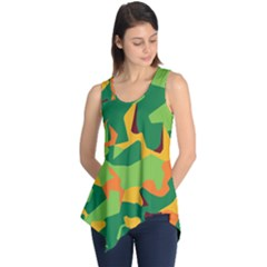 Initial Camouflage Green Orange Yellow Sleeveless Tunic by Mariart