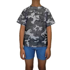 Initial Camouflage Grey Kids  Short Sleeve Swimwear by Mariart